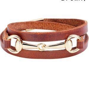 Bracelet-NEW- Leather Horse Snaffle Bit Equestrian